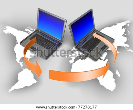 Global network the Internet. Isolated 3D image. - stock photo