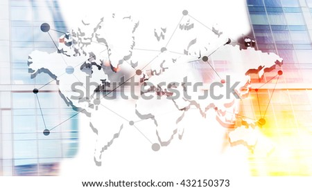 Global networking and cooperation concept with map and businessmen shaking hands on building background. Double exposure