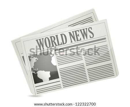 Global news concept illustration design over white - stock photo