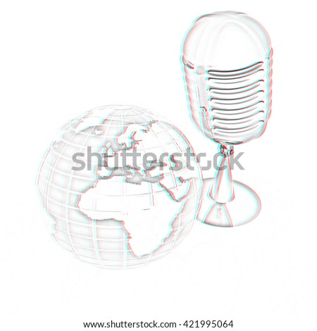 Global online with earth and mic. Pencil drawing. 3D illustration. Anaglyph. View with red/cyan glasses to see in 3D. - stock photo