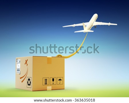 Global packages delivery and international parcels transportation concept, flying up airplane with rope tied to the cardboard box on blue sky background - stock photo