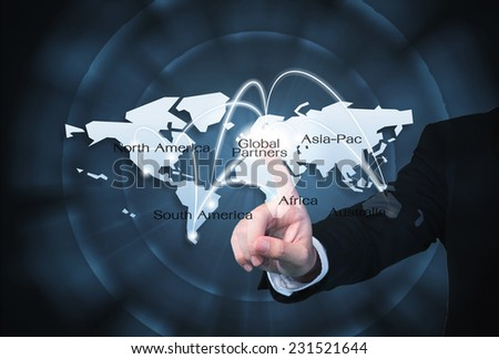 Global Partners Graphic use for import/export background - stock photo