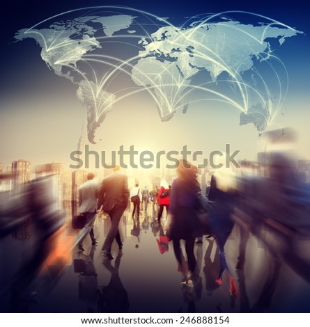 Global People Commuter Walking Rush Hour Concept - stock photo