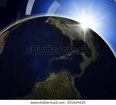 Global Planets Showing Solar System And Globalize - stock photo