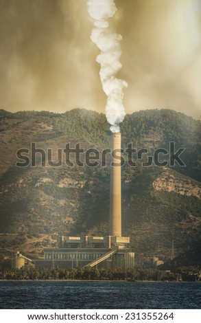 Global pollution caused by industry and resulting destruction - stock photo