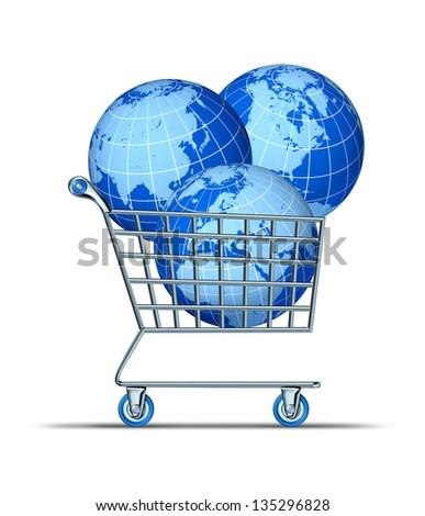 Global purchase and international investing with three world spheres in a shopping cart representing Asia North America Europe Africa and parts of south America as financial concept. - stock photo