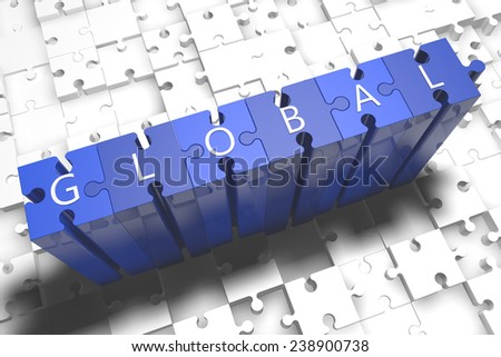 Global - puzzle 3d render illustration with block letters on blue jigsaw pieces  - stock photo
