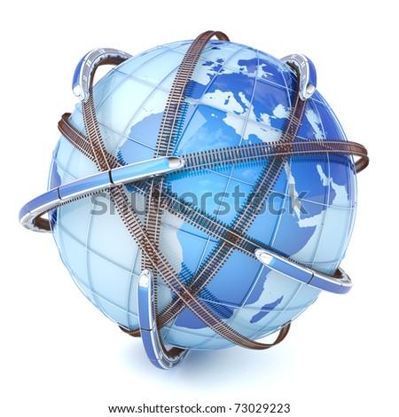 Global railway network - stock photo