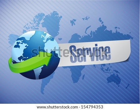 global service world map illustration design over a blue background