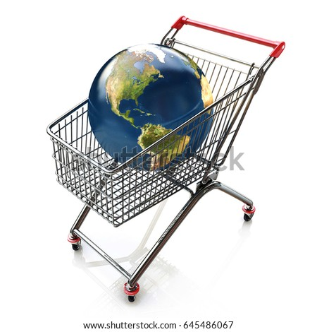 Global shopping concept with shopping cart containing globe in the design of the information associated with the global trade. 3d illustration