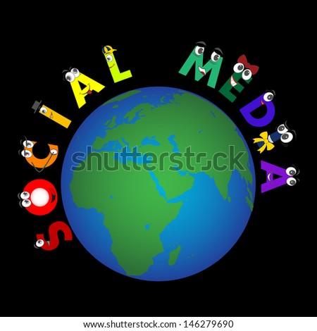 Global Social Media characters - stock photo