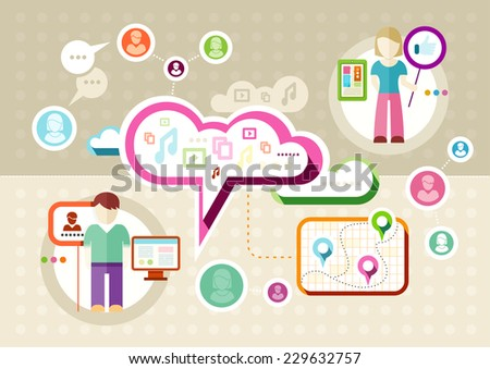 Global social network abstract scheme. Social media concept with cloud icons man and woman profiles in flat design. Raster version