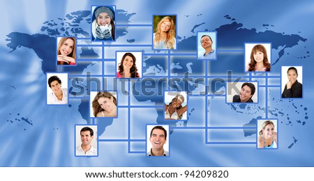 Global social network with the world map and people linked - conceptual image - stock photo