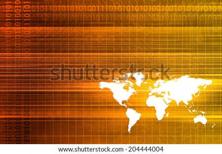Global Software Company with Technology Data Art - stock photo