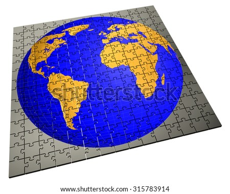 Global strategy and solution business concept, jigsaw puzzle - stock photo