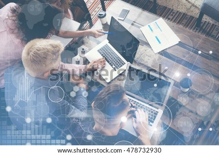 Global Strategy Connection Virtual Icon Graph Interface Diagram Marketing Research.Group Young Coworkers Team Making Excellent Business Solution.Creative People Discussion Corporate Work Concept