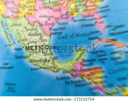 Global Studies A Colorful Closeup of Mexico and Central America - stock photo