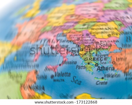 Global Studies of Europe with Emphasis on Greece - stock photo