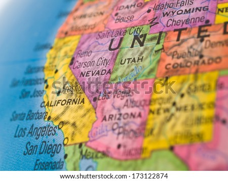 Global Studies - Western United States Focus on California and Nevada - stock photo