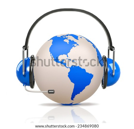 global support - headphones and blue earth planet globe. 3D render