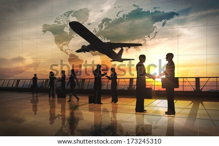 Global Team Business shake hand and meeting with airplane silhouettes   - stock photo