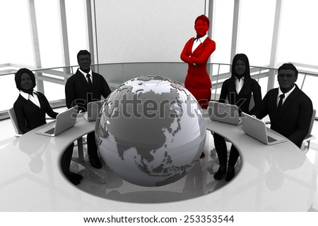 Global team conference. A leader and the team at the world-wide conference table with the earth in the middle. - stock photo