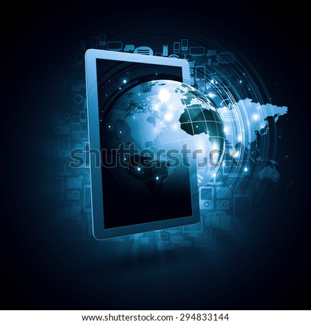Global technologies concept with tablet pc and media icons - stock photo