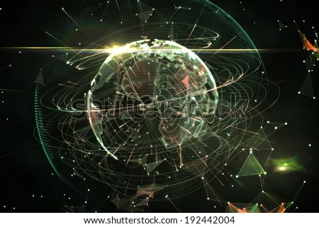 Global technology background in green and black - stock photo