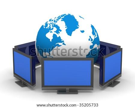 Global telecommunication on white background. Isolated 3D image - stock photo