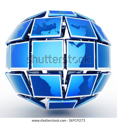 Global television. Hi-res digitally generated image. - stock photo