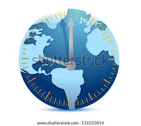 Global time concept illustration design over a white background - stock photo