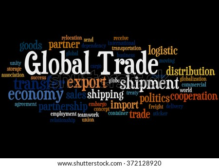 Global Trade, word cloud concept on black background.
