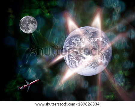global transportation in the future, abstract backgrounds(Earth Elements of this image furnished by NASA) - stock photo
