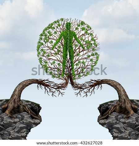 Global unity and international community partnership concept as two trees from two distant cliffs joining together to form a human shape for friendship cooperation  in a 3D illustration style. - stock photo