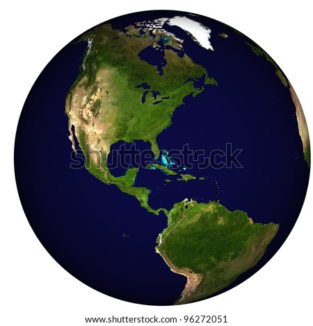 Global view on Americas, centered on Caribbean - stock photo