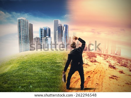 Global warming and the end of civilization - stock photo