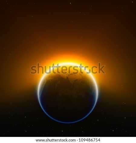 Global warming background - glowing planet Earth in space. Elements of this image furnished by NASA. - stock photo