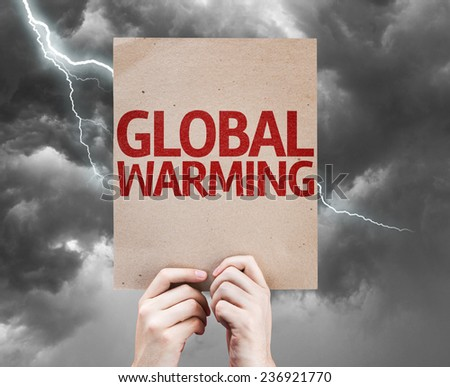 Global Warming card on a bad day - stock photo
