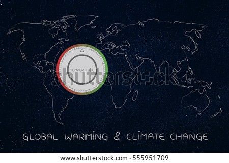Global warming climate change concept world stock illustration global warming climate change concept world map with thermostat showing temperatures rising ccuart Images