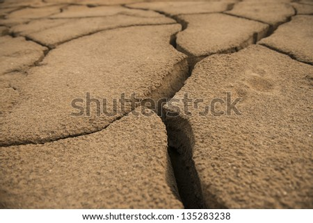 global warming concept of cracked ground - stock photo