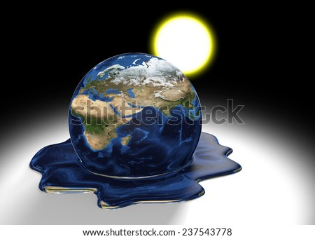 Global warming concept of Earth melting into a liquid pool under the heat of the sun, parts of this image furnished by NASA - stock photo