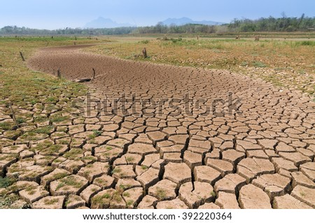 Global warming, Drought in the summer, the ground is dry reservoir of Mae Moh, Lampang, Thailand. - stock photo