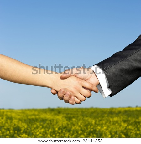 Global warming handshake - Conceptual image - stock photo