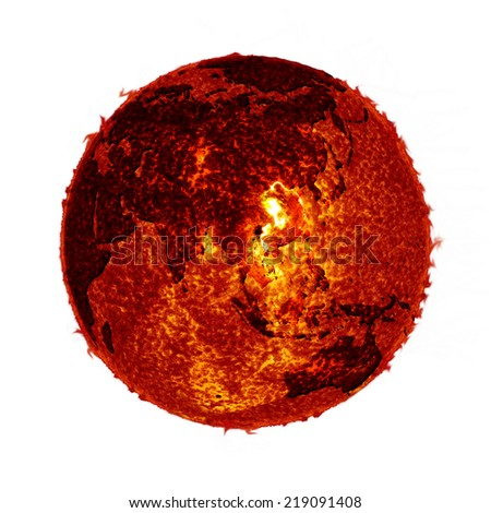 Global  Warming sun earth - Elements of Sun and earth Image Furnished by NASA - stock photo