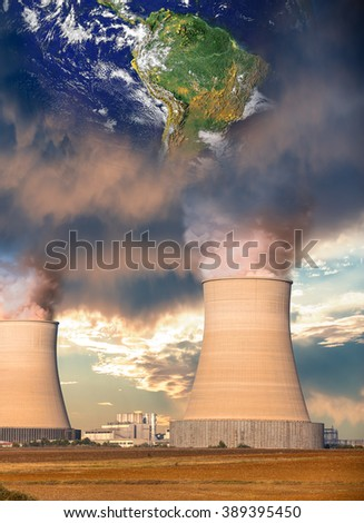 "Global warming theme with earth and factory ""Elements of this image furnished by NASA """