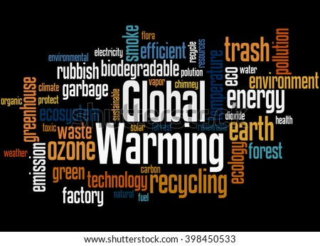 Global Warming, word cloud concept on black background.
