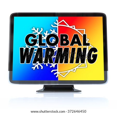 Global Warming words on a TV or television screen news report program as an urgent alert or emergency message - stock photo