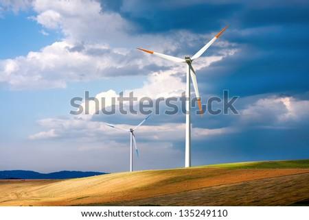 Global wind energy - stock photo