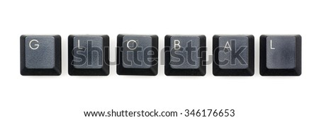 Global word written with black keyboard buttons.