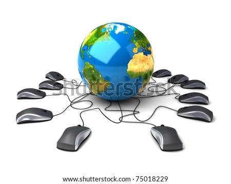 Global  world network the Internet - stock photo